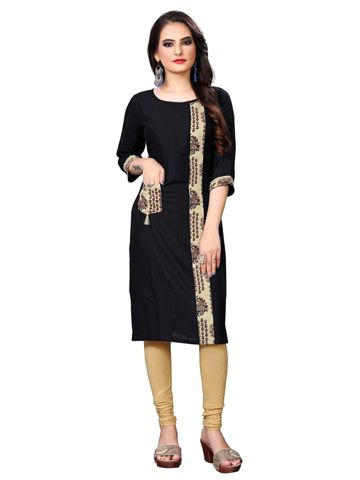 SATIMA | Women Black Straight Printed Rayon Pocket Kurti