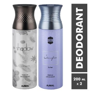 Ajmal | Shadow Homme and Sacrifise For her Deodorant Spray - Pack of 2