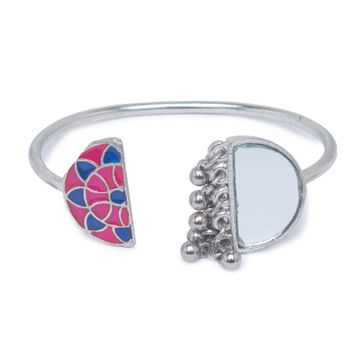 globus | Globus Silver and Pink and Blue Ethnic Bracelet