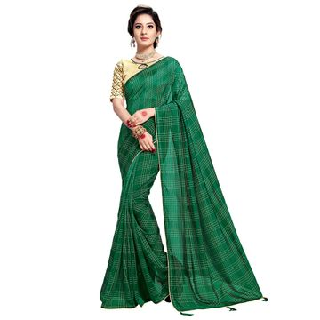 SATIMA | WOMEN'S GREEN SELF DESIGN PRINTED GEORGETTE SAREE