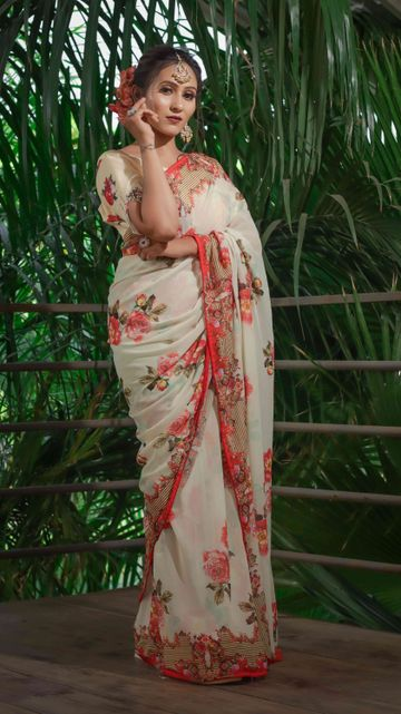 SATIMA | Satima Flower Print Cream Satin Saree