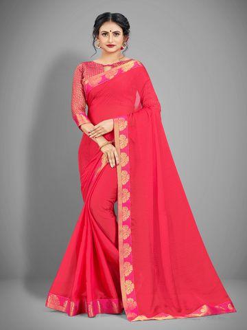 AWRIYA | AWRIYA Women's Chiffon Saree with Lace Border - JIYA PINK
