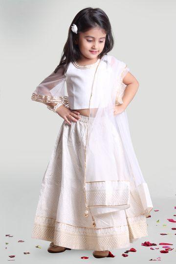 MINI CHIC | White Skirt and Choli Set with Dupatta for Girls