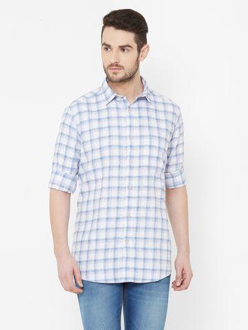 EVOQ | EVOQ Blue Block Checks Cotton Full Sleeves Shirt for Men