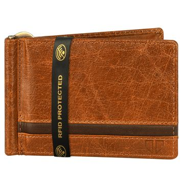 Walrus | Walrus Elite II Tan Genuine Leather Card Holder With RFID Protection & Money Clipper.