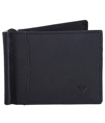 Walrus | Walrus Slim Black Vegan Leather Card Holder With Money Clipper.
