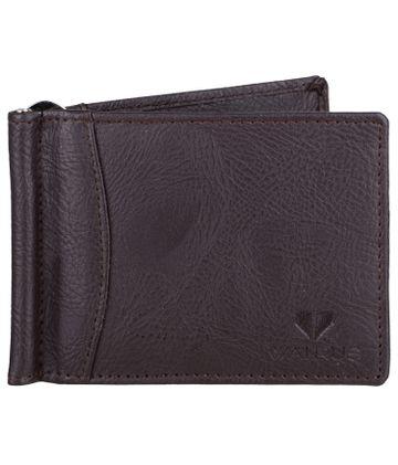 Walrus | Walrus Slim Brown Vegan Leather Card Holder With Money Clipper.