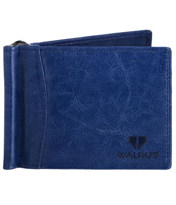Walrus | Walrus Slim II Blue Vegan Leather Card Holder With Money Clipper.