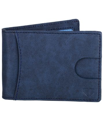 Walrus | Walrus Slim III Blue Vegan Leather Card Holder With Money Clipper and Card Pull Out Loop.
