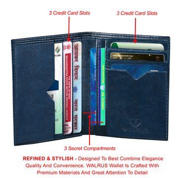 Walrus | Walrus Color Blue Vegan Leather Card Holder.