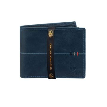 Walrus | Walrus Daniel Blue Vegan Leather Men Wallet With RFID Protection.