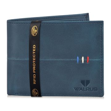 Walrus | Walrus Daniel-II Blue Vegan Leather Men Wallet With RFID Protection.