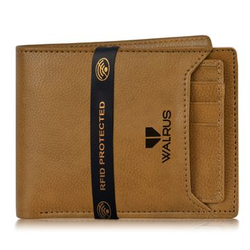 Walrus | Walrus Duke-VI Beige Vegan Leather Men Wallet With RFID Protection.