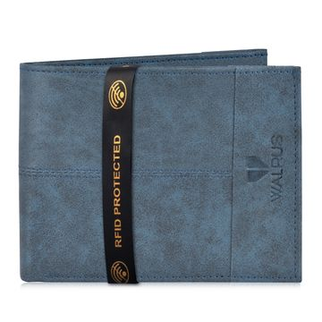 Walrus | Walrus Hyde-III Blue Vegan Leather Men Wallet With RFID Protection.