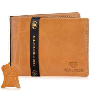 Walrus | Walrus Imperial-VI Beige Leather Men Wallet With RFID Protection.