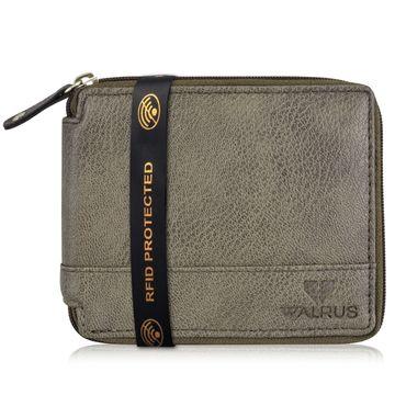 Walrus   Walrus Zipper-Iv Grey Vegan Leather Men Wallet