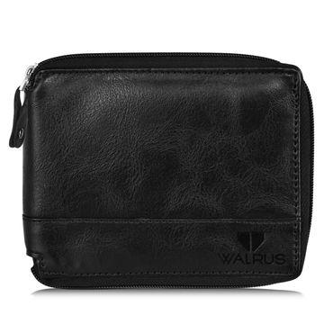 Walrus | Walrus Zipper-v Black Vegan Leather Men Wallet