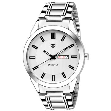 Walrus   Walrus Invictus III Series White Dial Men Metallic Wristwatch With Day & Date Function