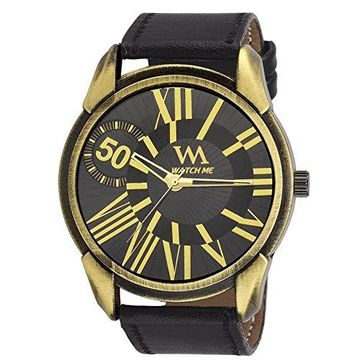Watch Me   Watch Me Black Dial Black Leather Strap Analog Watch for Men and Boys WMAL-208 For Men