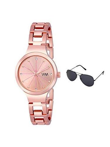 Watch Me | Watch Me Rose Gold Stainless Steel Rose Gold Dial Watch For Women with Free Sunglasses WMAL-371-wmg-002 For Women