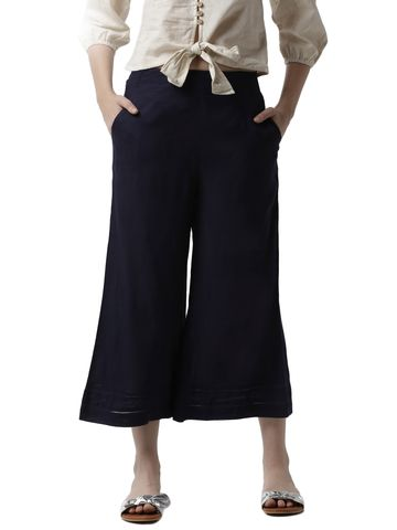 De Moza | De Moza Ladies Crop Palazzo Woven Bottom Rayon Dark Navy Blue