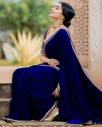JINAL & JINAL | JJ Women's Georgette Saree with Motif Stone Work and Velvet Blouse -Blue