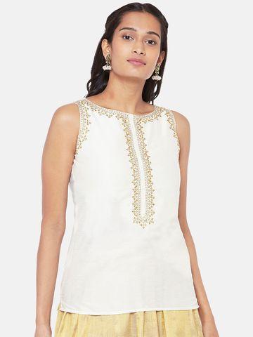 Ethnicity   Silk Blend Sleeveless Straight Women Off White Crop Top