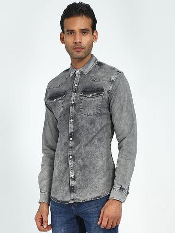 Blue Saint | Blue Saint Men's Grey Slim Fit Shirts