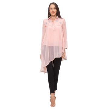 globus | Globus Peach Embroidered Kurti