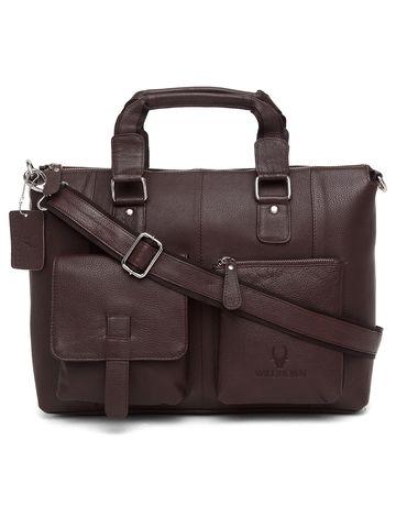 WildHorn   WildHorn 100% Genuine Leather Brown Laptop Bags for Men