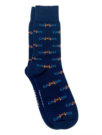 Mint & Oak   Mint & Oak The Gamer Blue Calf Length Socks for Men