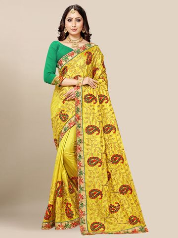 SATIMA | Women's Yellow Embroidered Silk Blend Saree