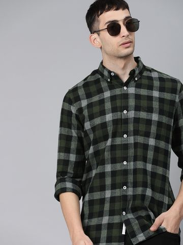 The Bear House   Men's Flannel Button-down Casual Shirt