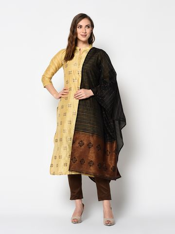 SATIMA   Women's Yellow Solid Cotton Unstitched Salwar Suit