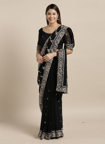 SATIMA | Satima BlackGeorgetteEmbroidery Saree