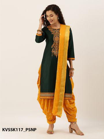 SATIMA | Green & Yellow Silk Blend Dress Material