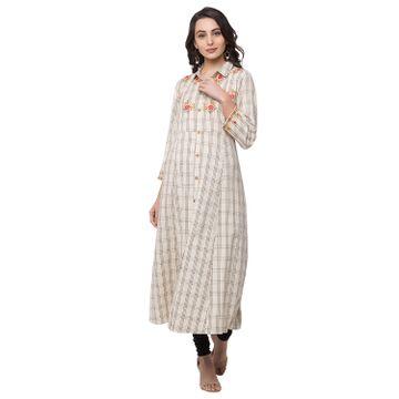 Ethnicity | Ethnicity Cotton A Line Women Ecru Kurta
