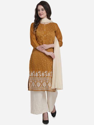 SATIMA | SatimaMustardEmbroidery Silk DressMaterial