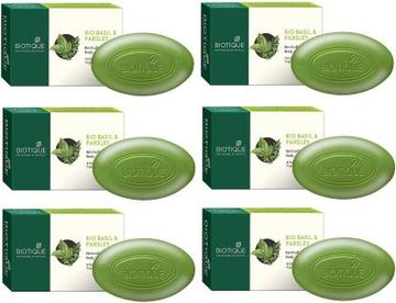 Biotique Advanced Ayurveda | BIOTIQUE Pack of 6 Bio Basil & Parsley Revitalizing Body Soap 900 G