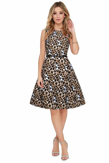 POONAM TEXTILE | Leopard Print Party Wear Dress