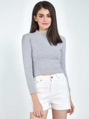 Blue Saint | Blue Saint Women's Grey Slim Fit T-Shirts