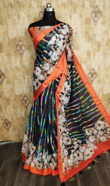 SATIMA | Multi Color Line Blend Digital Print Saree