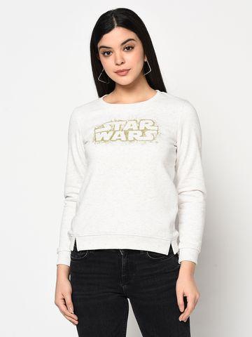 METTLE   Women WHITE MELANGE Sweatshirts