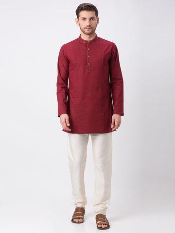 Ethnicity | Ethnicity Maroon Cotton Slub Kurta