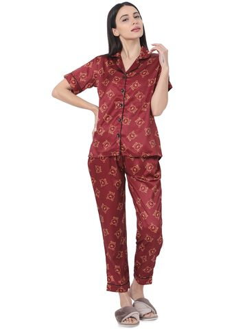 Smarty Pants | Smarty Pants women's silk satin maroon color pooh print night suit