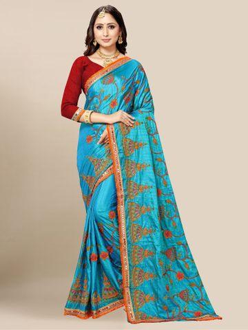 SATIMA | Women's Blue Embroidery Silk Blend Mirror Work Saree