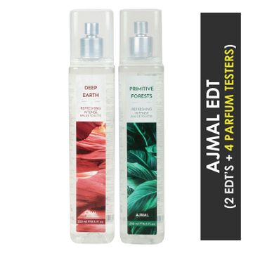 Ajmal | Ajmal Deep Earth & Primitive Forests EDT  pack of 2 each 250ml (Total 500ML) for Unisex + 4 Parfum Testers