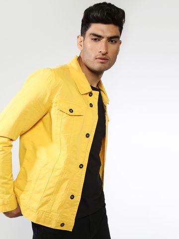 Blue Saint | Blue Saint Men's Yellow Slim Fit Denim Jackets