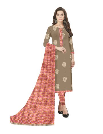 GF's | GF's Alluring Block Printed Unstitched Dress Materials for Women