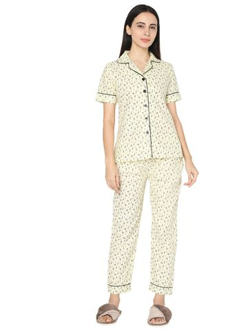 Smarty Pants | Cream cotton floral print night suit pair